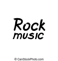 Rock music lettering. Musical icon background. Rock'n'roll sign.