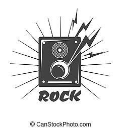 Rock music loud speaker logo in black and white colors
