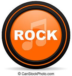 rock music orange glossy web icon on white background