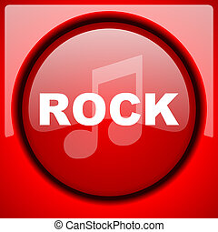 rock music red icon plastic glossy button