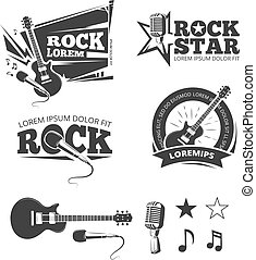 Rock music shop, recording studio, karaoke club vector labels, badges, emblems logos