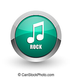 Rock music silver metallic chrome web design green round internet icon with shadow on white background.