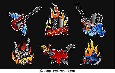 Rock Music Stickers Vector Isolated On White Set