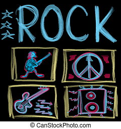 Rock music word isolated on black