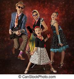 Rock musician family having fun