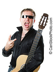 rock musician, man in glasses with  guitar screams and shows a sign of victory with his fingers on a white background. More of this series on my portfolio  !