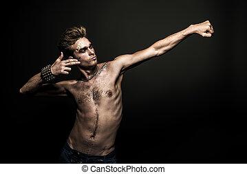 rock musician man - Bad boy concept. A portrait of a bad guy...