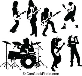 rock musicians - silhouette of rock and roll musicians