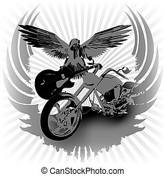 Rock n roll background and chopper