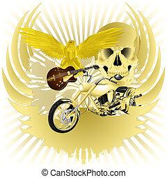 Rock n roll background and golden chopper - Rock n roll...