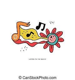 Rock n roll doodle vector color illustration