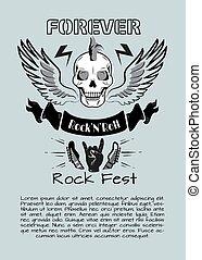 Rock n Roll Fest Forever Vector Illustration