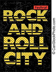 Rock N Roll Festival Typography for T shirt, Vector.