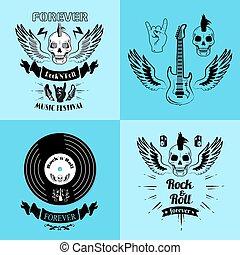 Rock n roll Forever Music Fest Vector Illustration