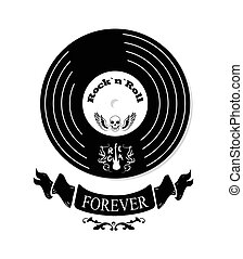 Rock n roll Forever Vinyl Vector Illustration