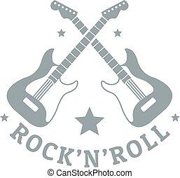 Rock n roll logo, simple gray style
