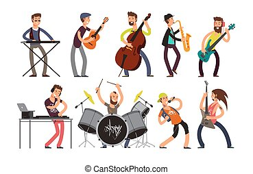 Rock n roll music band vector characters with musical instruments. Musicians playing music