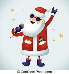 Rock n roll Santa character. Singing Santa Claus - rock star...