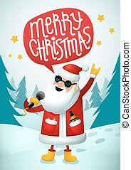 Rock-n-roll Santa. Singing Santa Claus - rock star with merry christmas text speech bubble on blue christmas background. Christmas hipster poster for party. Xmas greeting card.