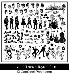 Rock n Roll elements isolated on light background