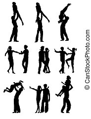 vector drawing men and women dancing rock 'n' roll on a white background