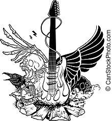 Rock n roll vector illustration.  Vector guitar