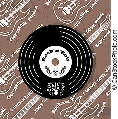 Rock n roll Vinyl and Skull Vector Illustration