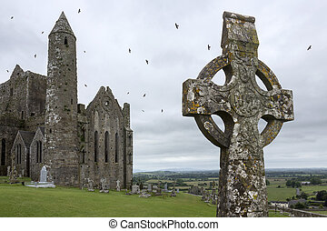 The Rock of Cashel, also known as Cashel of the Kings and St. Patrick's Rock, is a historic site near the village of Cashel in County Tipperary in the Republic of Ireland. The oldest and tallest of the buildings is the well preserved round tower (28 meters, or 90 feet), dating from circa 1100.