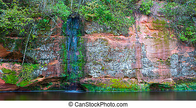 Rock of sandstone overgrown with moss and plants, the river bank. Landscape.