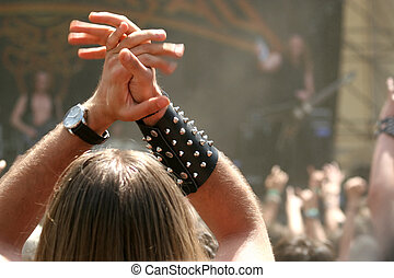 Rock on - Rocking crowd at heavy metal festival / concert