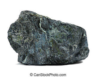 Rock on white - Dark green rock isolated on white background