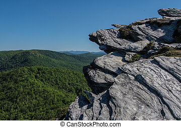 Rock Outcropping Above Blue Ridge Mountains in Linville ...