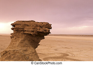 Rock outcropping- Tunisia - Ong Jemal near the Chott el-...