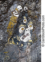 Rock painting, Bhutan - Rock painting along the road from...