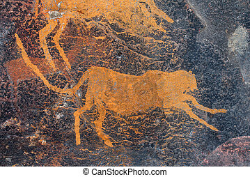 Rock painting of a cheetah
