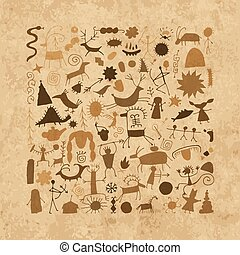 Rock paintings background, sketch for your design