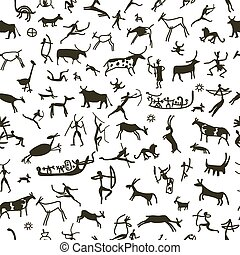 Rock paintings with ethnic people, seamless pattern, vector illustration