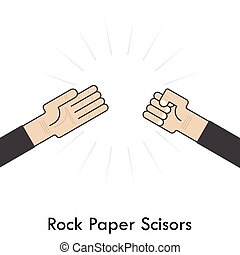 Rock Paper Scisors for it sign.Hand of businessmans with...