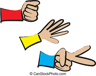 Rock, Paper, Scissors - a simple cartoon drawing of a...