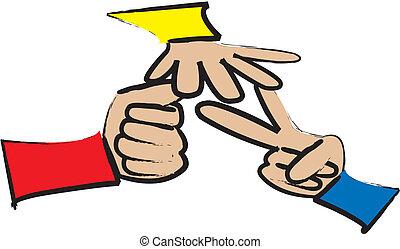 Rock Paper Scissors Game - cartoon drawing of 3 hands...