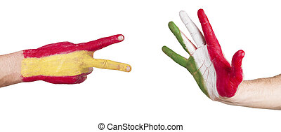 rock, paper, scissors game with flags Spain and Italy