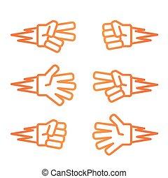 Rock-paper-scissors gradient orange icon on white background