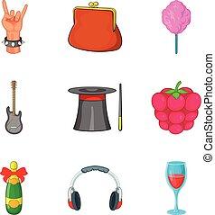 Rock party icon set, cartoon style