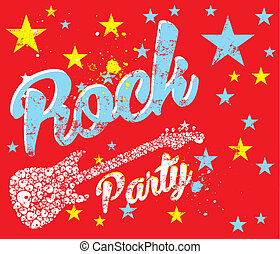 rock party skull guitar vector art