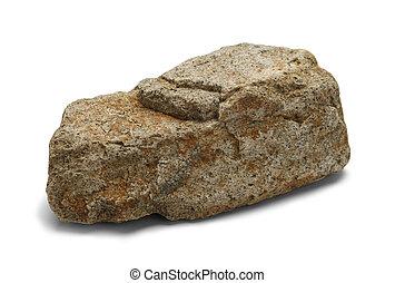 Rock - Single Stone Isolated on White Background.