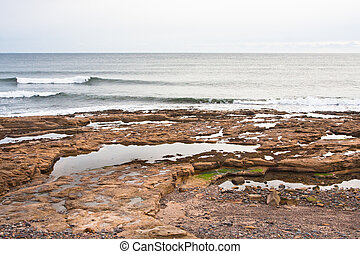 Rock pools at a beach in Scotland