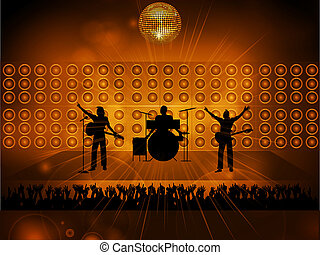 Rock pop band on stage and crowd