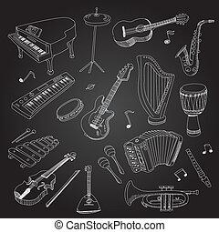 Rock pop music hand drawn instruments guitar, keyboard, synthesizer, saxophone white on black background