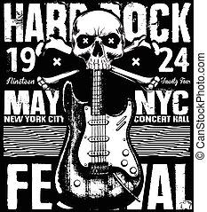 "Rock poster grunge monochrome hipster vintage label , badge , flayer "" hard rock "" for poster or t-shirt print with electric guitar, lightning"