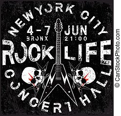 """Rock Poster monochrome hipster vintage label; badge; flayer """" hard rock """" for poster or t-shirt print with electric guitar; lightning"""